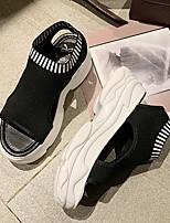 Недорогие -Жен. Сандалии На плоской подошве Открытый мыс Полиуретан Беговая обувь Весна лето Белый / Черный