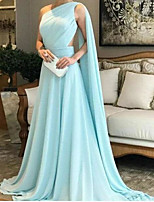 cheap -A-Line Elegant Green Party Wear Prom Dress One Shoulder Sleeveless Sweep / Brush Train Chiffon with Ruched 2020