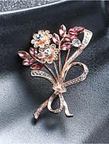 Недорогие -женский цирконий броши классический цветок стильный простой классический брошь ювелирные изделия серебро для вечеринки подарок повседневная работа фестиваль