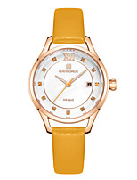 cheap -NAVIFORCE Ladies Quartz Watches Casual Fashion Blue Red Green PU Leather Japanese Quartz Yellow Red Green Water Resistant / Waterproof Calendar / date / day New Design 30 m 1 pc Analog Two Years
