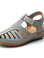 cheap -Women's Sandals Wedge Sandals Summer Wedge Heel Open Toe Daily PU Black / Purple / Red