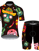 cheap -21Grams Men's Short Sleeve Cycling Jersey with Shorts Black / Green Skull Floral Botanical Bike Clothing Suit UV Resistant Breathable Quick Dry Sweat-wicking Sports Skull Mountain Bike MTB Road Bike