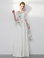 cheap -A-Line Chinese Style White Wedding Guest Formal Evening Dress High Neck Half Sleeve Floor Length Spandex with Appliques 2020