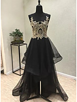 cheap -A-Line Sparkle Black Engagement Formal Evening Dress Illusion Neck Sleeveless Asymmetrical Tulle with Tier Appliques 2020