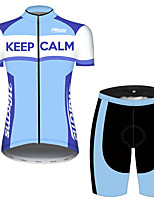 cheap -21Grams Women's Short Sleeve Cycling Jersey with Shorts Blue / White Stripes Novelty Crown Bike Clothing Suit Breathable Quick Dry Ultraviolet Resistant Sweat-wicking Sports Stripes Mountain Bike MTB