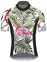 Недорогие -21Grams Муж. С короткими рукавами Велокофты Розовый + зеленый Фламинго Животное Цветочные ботанический Велоспорт Джерси Верхняя часть Горные велосипеды Шоссейные велосипеды / Эластичная / Дышащий