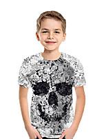 cheap -Kids Boys' Active Street chic Geometric 3D Patchwork Pleated Print Short Sleeve Blouse Rainbow
