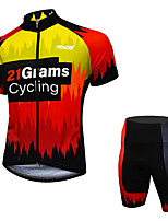 cheap -21Grams Men's Short Sleeve Cycling Jersey with Shorts Red / Yellow Patchwork Gradient Bike Clothing Suit UV Resistant Breathable 3D Pad Quick Dry Reflective Strips Sports Patchwork Mountain Bike MTB