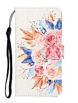 Недорогие -Кейс для Назначение SSamsung Galaxy Galaxy S10 / Galaxy S10 Plus / Galaxy A50 (2019) Кошелек / Бумажник для карт / со стендом Чехол Цветы Кожа PU