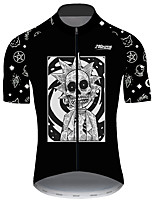 cheap -21Grams Men's Short Sleeve Cycling Jersey Black / White Bike Jersey Top Mountain Bike MTB Road Bike Cycling UV Resistant Breathable Quick Dry Sports Clothing Apparel / Stretchy