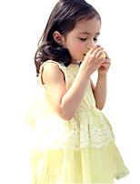 Недорогие -Дети Девочки Милая Симпатичные Стиль Однотонный Без рукавов До колена Платье Желтый