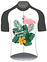 cheap -21Grams Men's Short Sleeve Cycling Jersey Gray+White Flamingo Animal Floral Botanical Bike Jersey Top Mountain Bike MTB Road Bike Cycling UV Resistant Breathable Quick Dry Sports Clothing Apparel