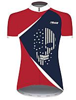 Недорогие -21Grams Жен. С короткими рукавами Велокофты Красный + синий Пэчворк Американский / США Флаги Велоспорт Джерси Верхняя часть Горные велосипеды Шоссейные велосипеды / Эластичная / Быстровысыхающий