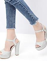 cheap -Women's Sandals Chunky Heel Open Toe PU Summer Gold / Silver