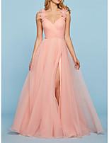 Недорогие -Сплит аппликации линии элегантный кисточкой без рукавов v-образным вырезом кисточкой поезд тюль обручальное платье выпускного вечера
