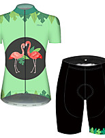 cheap -21Grams Women's Short Sleeve Cycling Jersey with Shorts Pink+Green Flamingo Floral Botanical Bike Clothing Suit Breathable 3D Pad Quick Dry Ultraviolet Resistant Reflective Strips Sports Flamingo