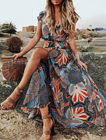 cheap -Women's Maxi Red Light Blue Dress Boho Summer Holiday Vacation Beach Swing Floral Print V Neck S M