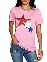 cheap -Women's Geometric Print T-shirt Daily Black / Blue / Blushing Pink / Dark Gray / Gray