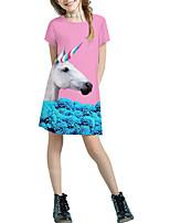 cheap -Kids Girls' Basic Cute Solid Colored Cartoon Patchwork Print Short Sleeve Above Knee Dress Blushing Pink