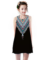 cheap -Kids Girls' Basic Cute Rubik's Cube Geometric Color Block Print Sleeveless Knee-length Dress Black