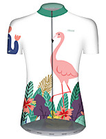 Недорогие -21Grams Жен. С короткими рукавами Велокофты Red and White Фламинго Животное Цветочные ботанический Велоспорт Джерси Верхняя часть Горные велосипеды Шоссейные велосипеды / Эластичная / Дышащий