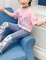 cheap -Kids Girls' Active Daily Daily Wear Blue Floral Print Sequins Print Short Sleeve Regular Regular Clothing Set Blushing Pink