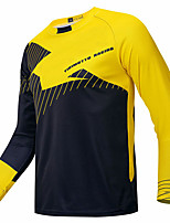 cheap -21Grams Men's Long Sleeve Cycling Jersey Downhill Jersey Dirt Bike Jersey Black / Yellow Geometic Bike Jersey Top Mountain Bike MTB Road Bike Cycling UV Resistant Breathable Quick Dry Sports Clothing