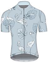 Недорогие -21Grams Муж. С короткими рукавами Велокофты Синий Фламинго Животное Цветочные ботанический Велоспорт Джерси Верхняя часть Горные велосипеды Шоссейные велосипеды / Эластичная / Быстровысыхающий
