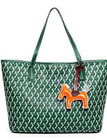 cheap -Women's Polyester / PU Top Handle Bag Geometric Pattern Yellow / Green / Blue