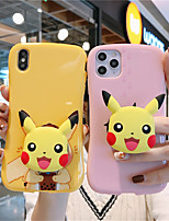 cheap -Case For Apple iPhone 11  11 Pro  11 Pro Max Pink Pikachu Milk Tea Pikachu Pattern Pure color TPU material Four corners drop proof Glossy Little Waist phone case