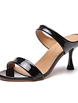 Недорогие -Жен. Обувь на каблуках 2020 На шпильке Открытый мыс Замша / Искусственная кожа Английский Лето Красный / Белый / Черный