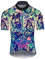 cheap -21Grams Men's Short Sleeve Cycling Jersey Black / Blue Tie Dye Butterfly Floral Botanical Bike Jersey Top Mountain Bike MTB Road Bike Cycling UV Resistant Breathable Quick Dry Sports Clothing Apparel