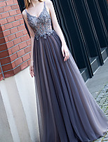 cheap -A-Line Sparkle Blue Engagement Prom Dress Spaghetti Strap Sleeveless Floor Length Polyester with Appliques 2020
