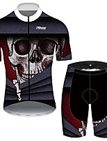 cheap -21Grams Men's Short Sleeve Cycling Jersey with Shorts Black / Red Novelty Skull Bike Clothing Suit UV Resistant Breathable 3D Pad Quick Dry Reflective Strips Sports Solid Color Mountain Bike MTB Road