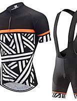Недорогие -21Grams Муж. С короткими рукавами Велокофты и велошорты-комбинезоны Черный / Белый В полоску Велоспорт Наборы одежды Устойчивость к УФ Дышащий 3D-панель Быстровысыхающий Впитывает пот и влагу