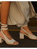 Недорогие -Жен. Сандалии На толстом каблуке Круглый носок Полиуретан Лето Тёмно-синий / Коричневый / Бежевый