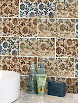 Недорогие -20x10cmx9pcs королевский гранж цветочные наклейки на стены ретро маслостойкие водонепроницаемый плитка обои для кухни ванная комната земля стены украшения дома