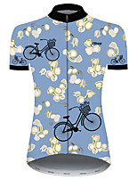 cheap -21Grams Women's Short Sleeve Cycling Jersey Blue Floral Botanical Bike Jersey Top Mountain Bike MTB Road Bike Cycling UV Resistant Breathable Quick Dry Sports Clothing Apparel / Stretchy