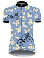 Недорогие -21Grams Жен. С короткими рукавами Велокофты Синий Цветочные ботанический Велоспорт Джерси Верхняя часть Горные велосипеды Шоссейные велосипеды Устойчивость к УФ Дышащий Быстровысыхающий Виды спорта