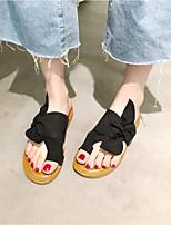 cheap -Women's Flats Flat Sandal 2020 Summer Flat Heel Open Toe Daily Home Bowknot Faux Leather Black / Khaki / Beige