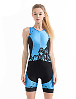 cheap -21Grams Women's Sleeveless Triathlon Tri Suit Black / Blue Geometic Bike Clothing Suit Breathable 3D Pad Quick Dry Ultraviolet Resistant Sweat-wicking Sports Solid Color Mountain Bike MTB Road Bike