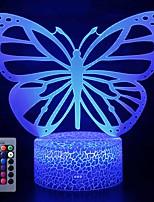 Недорогие -Бабочка 3d светодиодные ночные светильники лампа оптической иллюзии 16 цветов сенсорный рождественское украшение освещение настольный настольный светильник для украшения дома и малышей дети дети