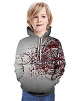 Недорогие -Дети Мальчики Активный Классический Контрастных цветов 3D Длинный рукав Худи / толстовка Черный