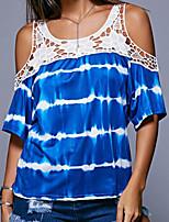 cheap -Women's Color Block Print Lace Trims T-shirt Daily Blue / Purple