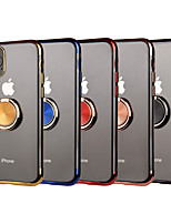 Недорогие -чехол для apple iphone 11/11 pro / 11 pro max / xs max / xs / xr / x / 8p / 7p / 8/7 противоударный / плакированный / держатель кольца задняя крышка прозрачный тпу