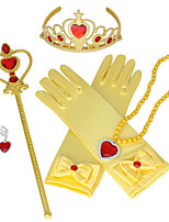 cheap -Princess Elsa Gloves Necklace Outfits Girls' Movie Cosplay Halloween Purple / Yellow / Pink 1 Ring Gloves Crown Children's Day Masquerade Rhinestone Fabric Plastic / Earrings / Wand / Earrings / Wand