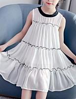 Недорогие -Дети Девочки Симпатичные Стиль Уличный стиль Пэчворк Оборки Пэчворк Без рукавов Платье Красный