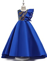cheap -A-Line Round Court Train Cotton Junior Bridesmaid Dress with Bow(s) / Ruffles