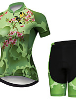 cheap -21Grams Women's Short Sleeve Cycling Jersey with Shorts Black / Green Floral Botanical Bird Gear Bike Clothing Suit Breathable 3D Pad Quick Dry Ultraviolet Resistant Sweat-wicking Sports Floral