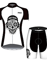 cheap -21Grams Women's Short Sleeve Cycling Jersey with Shorts Black / White Skull Bike Clothing Suit Breathable Quick Dry Ultraviolet Resistant Sweat-wicking Sports Solid Color Mountain Bike MTB Road Bike